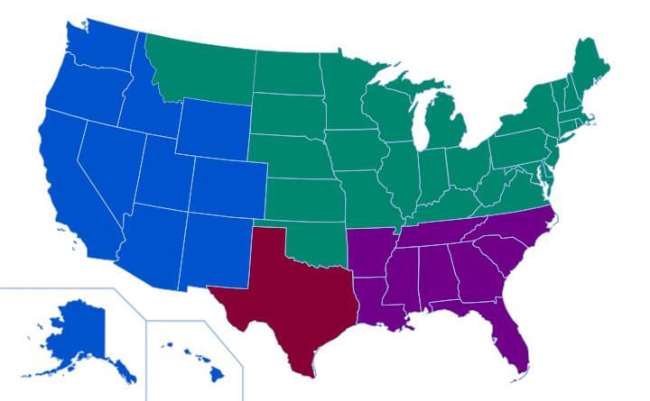Foamtec International Customer Service North America - Us sales territory map